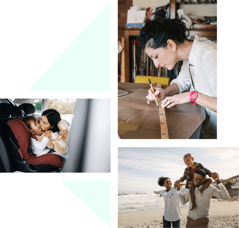 Three images of people. A mom with her son in the car, a young family at the beach, and a person drawing with a ruler.