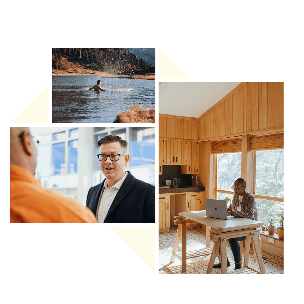 Images of an individual working on his laptop at home a man swimming in a lake and two business men speaking
