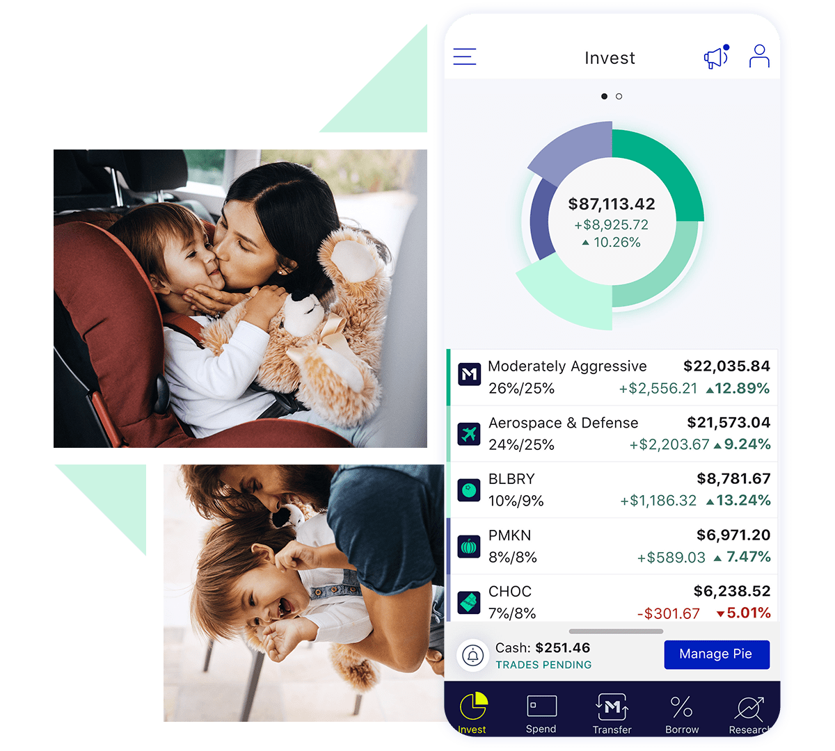 M1 invest tab with images of parents showing affection towards their children
