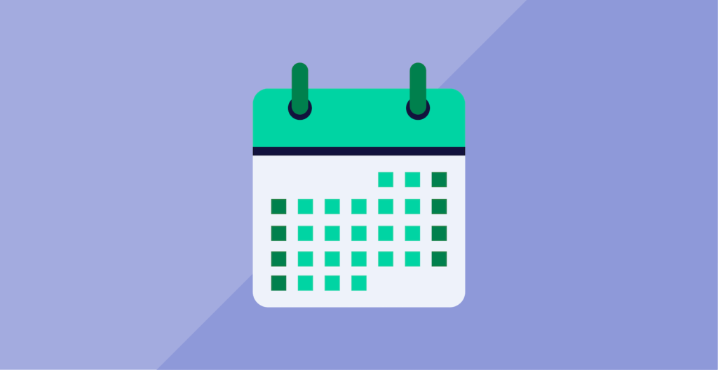 Green calendar in front of a light blue background