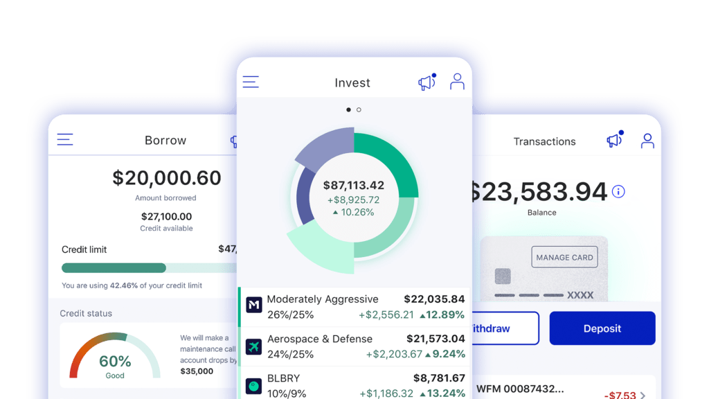 Screenshots of the M1 Finance app