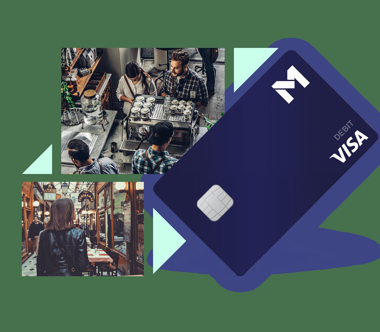 Blue M1 Debit Card on a Diagnol over images of people at a café