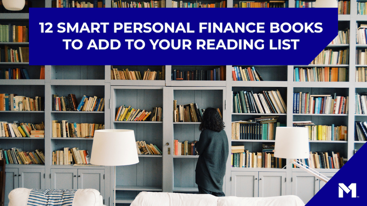 Woman looking at a full bookshelf. Text reads 12 smart personal finance books to add to your reading list.