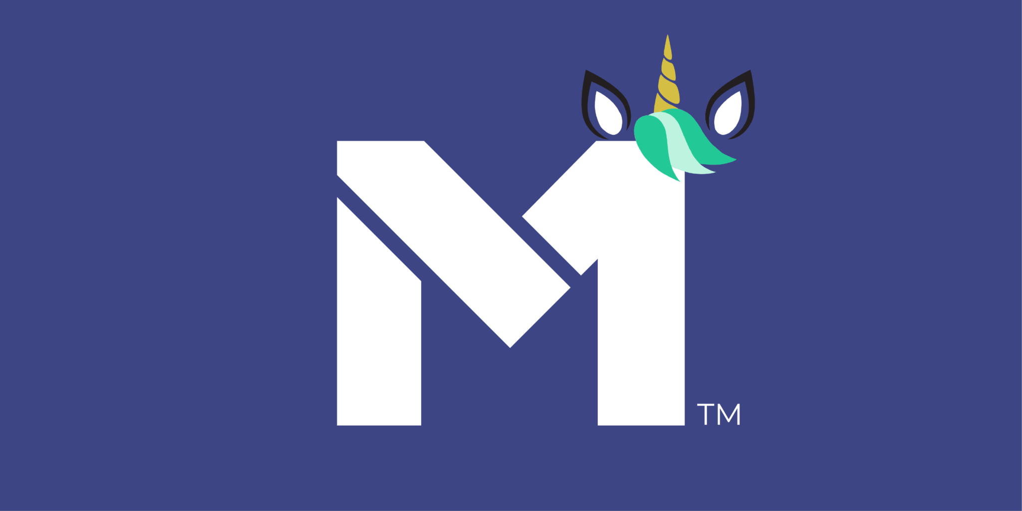 Image of the M1 logo with a unicorn sticker on the top right