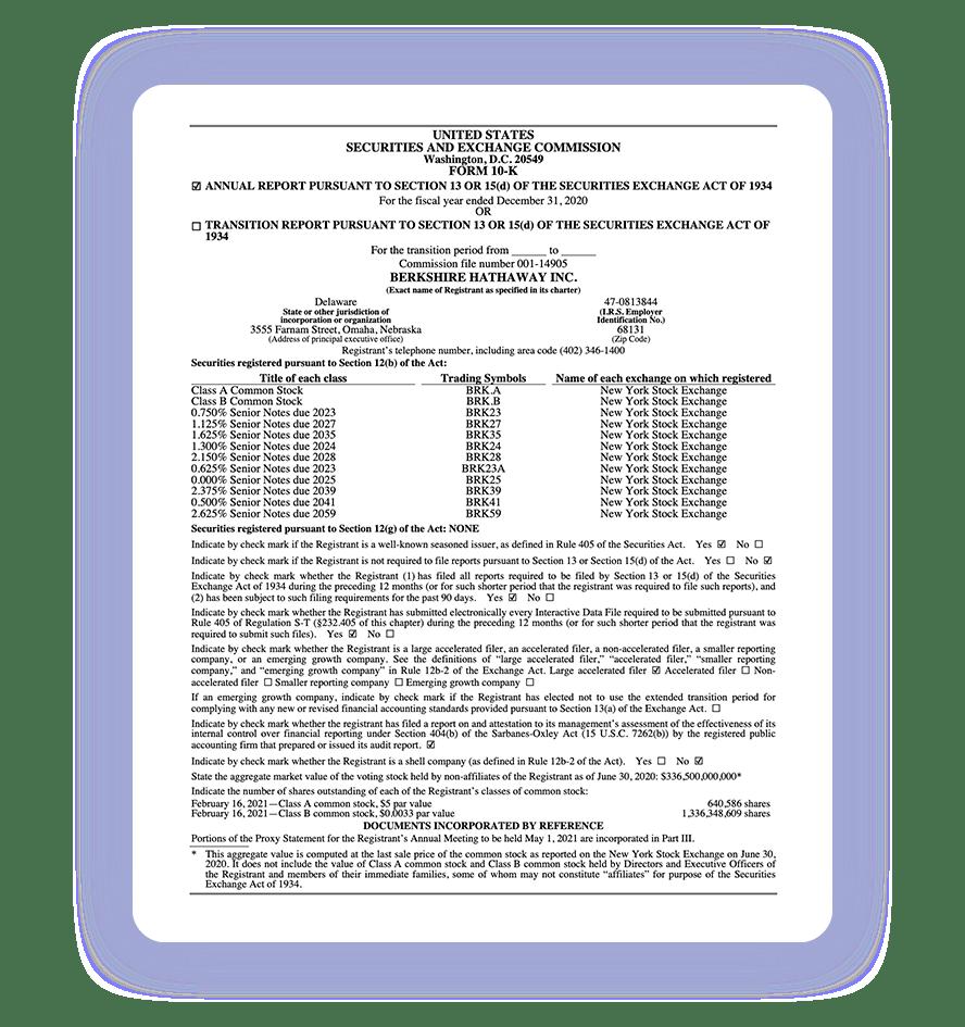 SEC form 10-K for Berkshire Hathaway Inc.