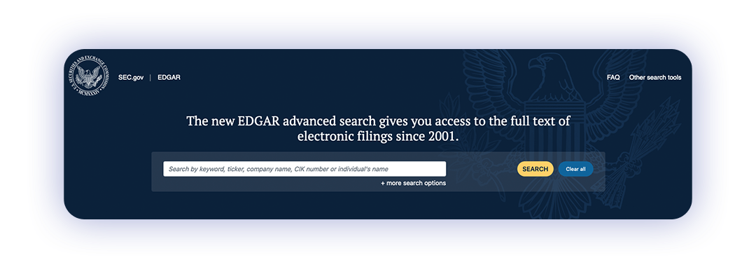 SEC Edgar search bar