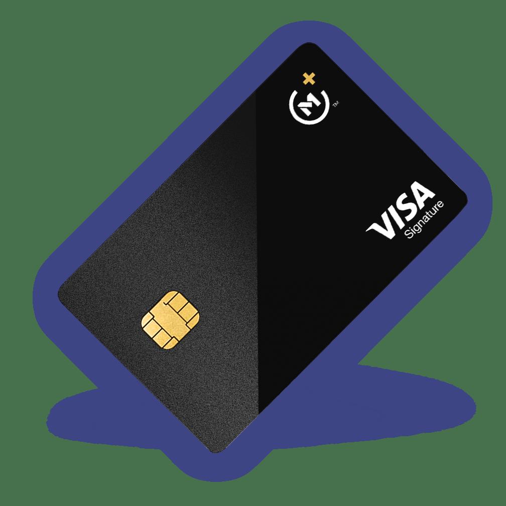 The Owner's Rewards Card by M1 is a sleek, black metal credit card.