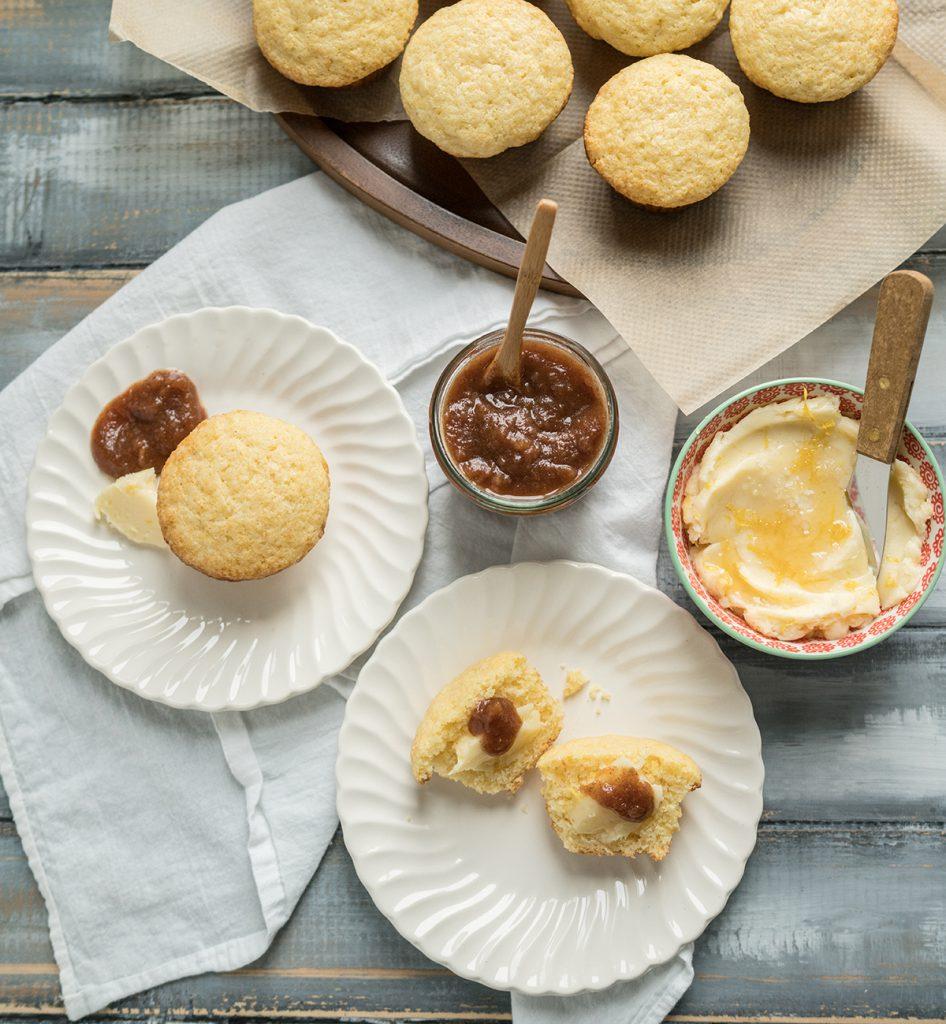 Baking Corn Muffins with Lemon Honey Butter