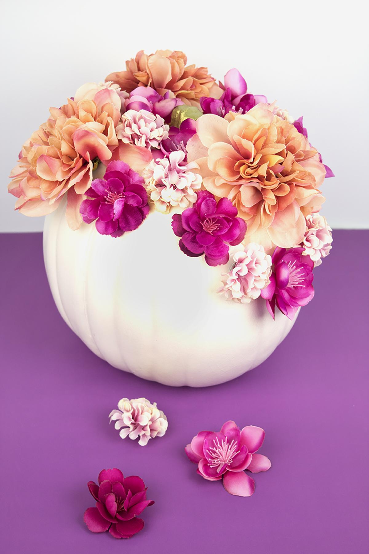 DIY Painted Floral Pumpkin Decor
