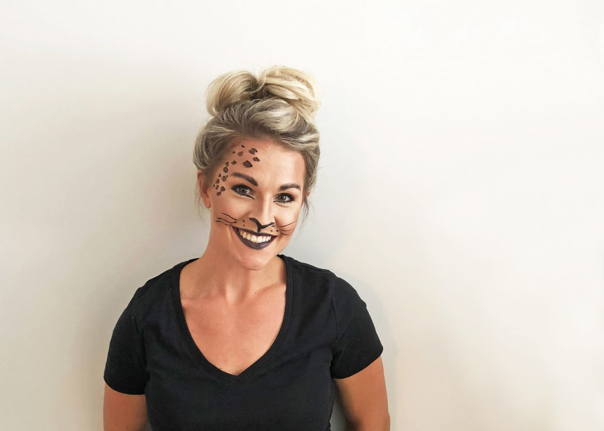 DIY makeup cheetah costume for Halloween
