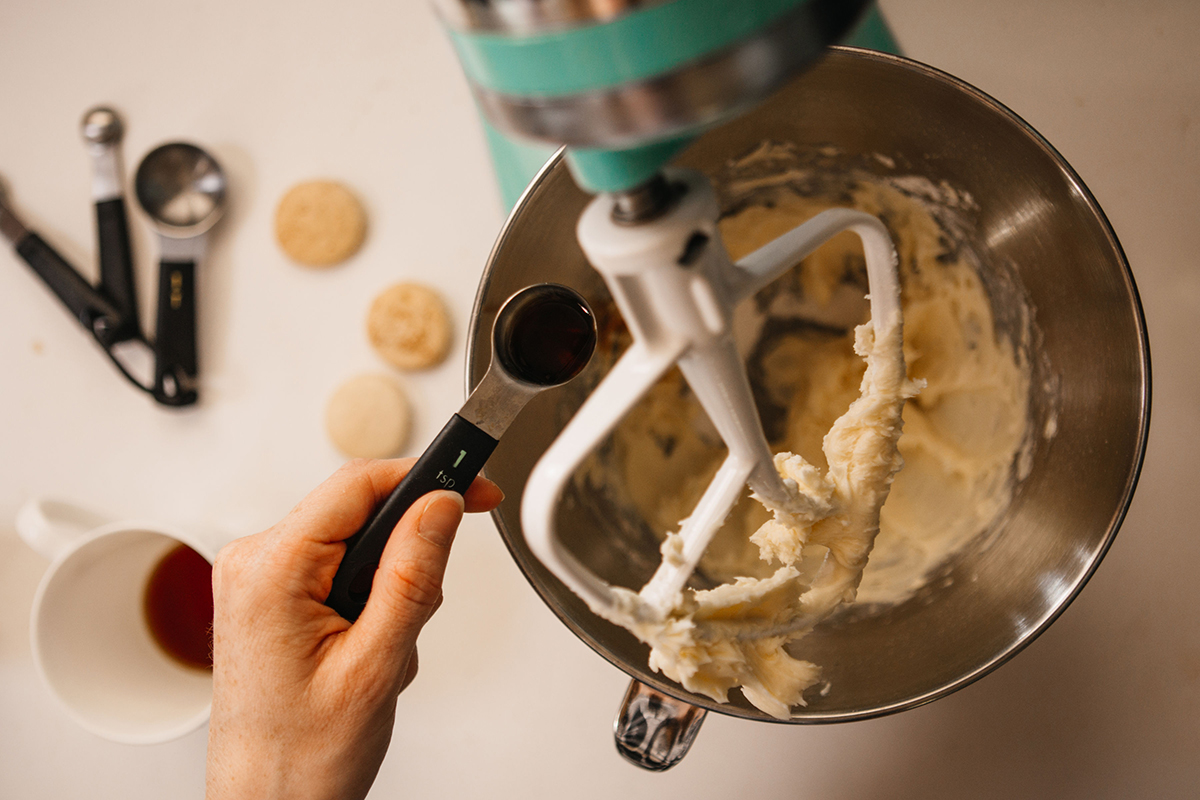 Mixing Ingredients for Chai Buttercream Macarons
