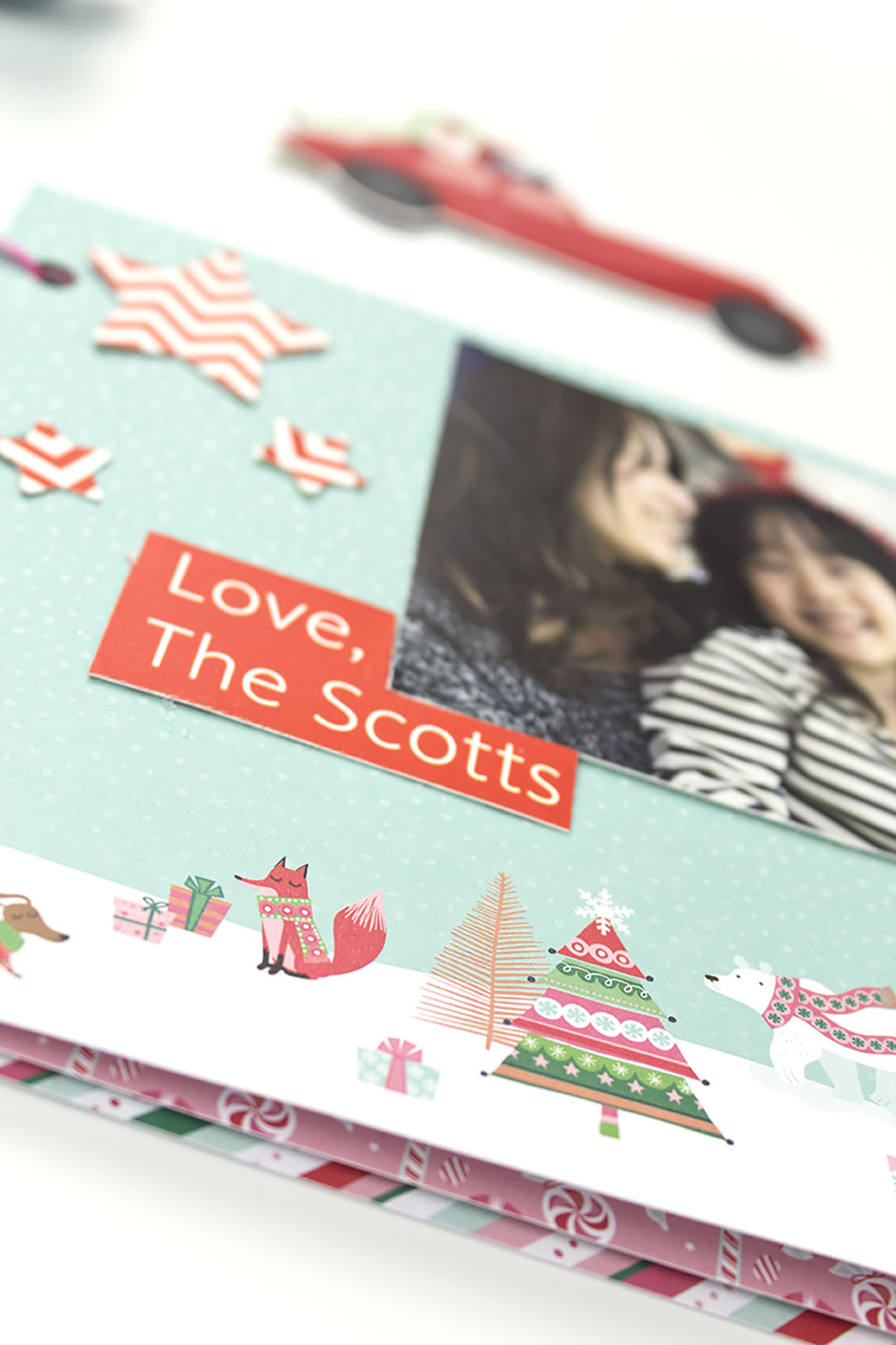 Holiday Card Scrapbook Close Up