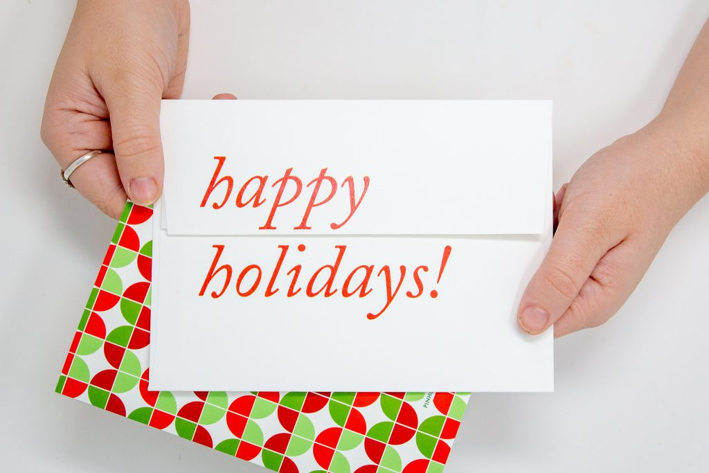 Custom Photo Cards with Envelopes that say Happy Holidays