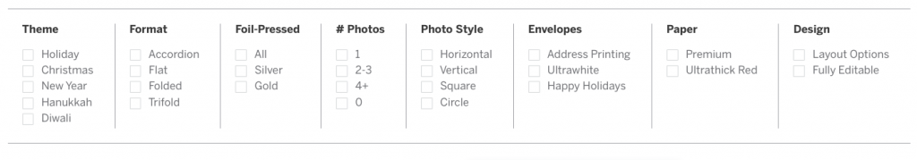 Holiday Card Filter Options