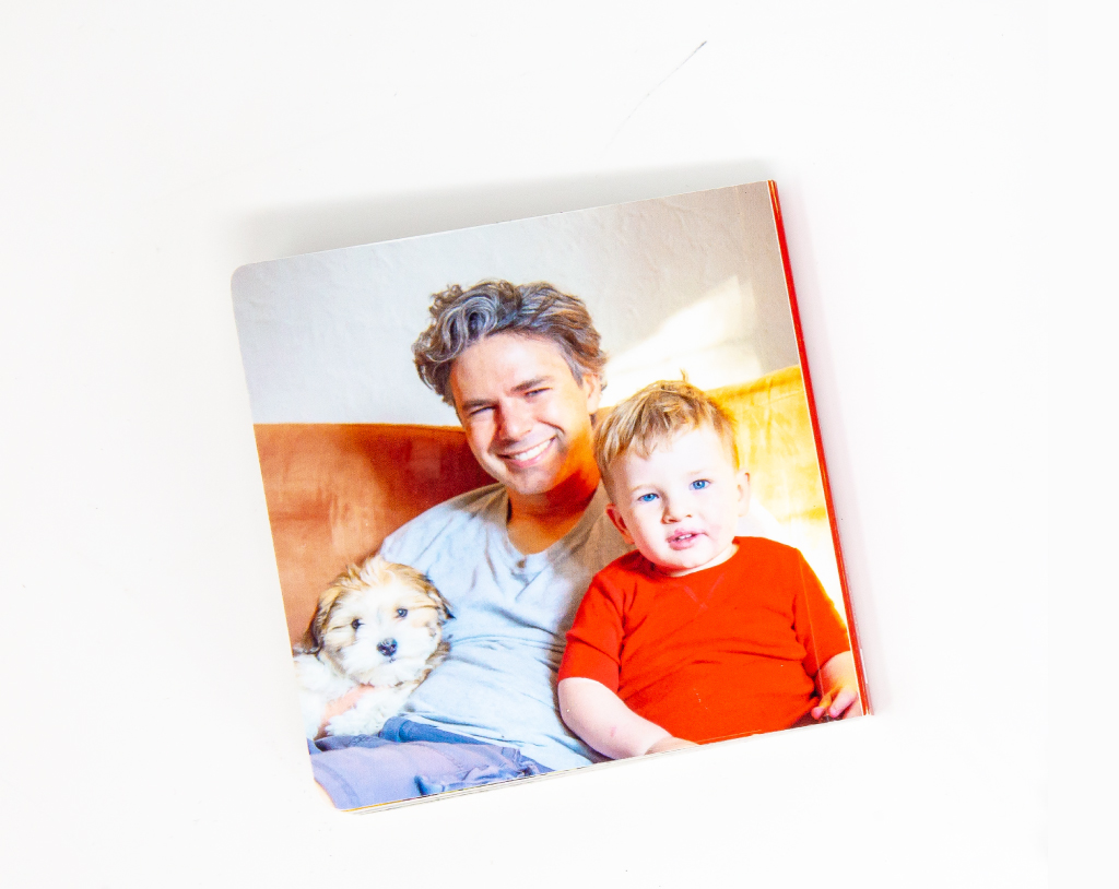 An itty bitty softcover photo book for Dad made by Pinhole Press.