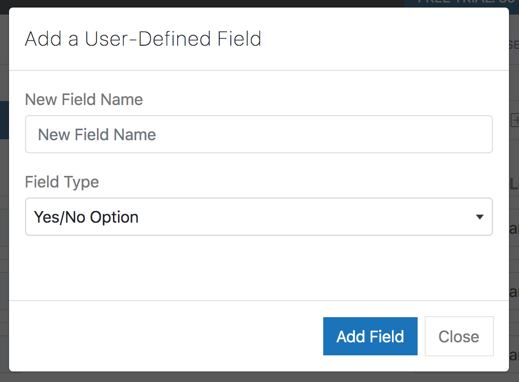 New User Defined Fields