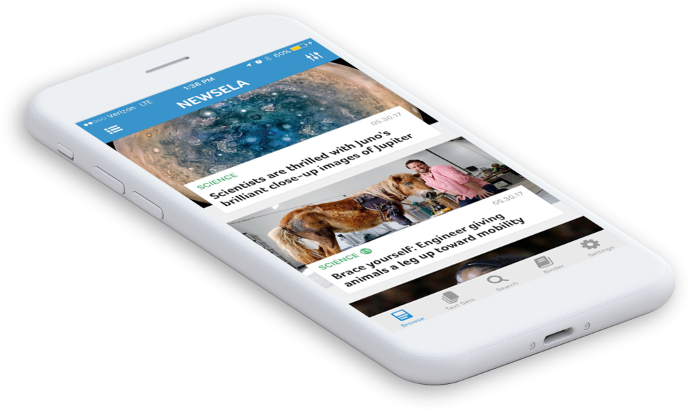 Newsela app runnning on a phone