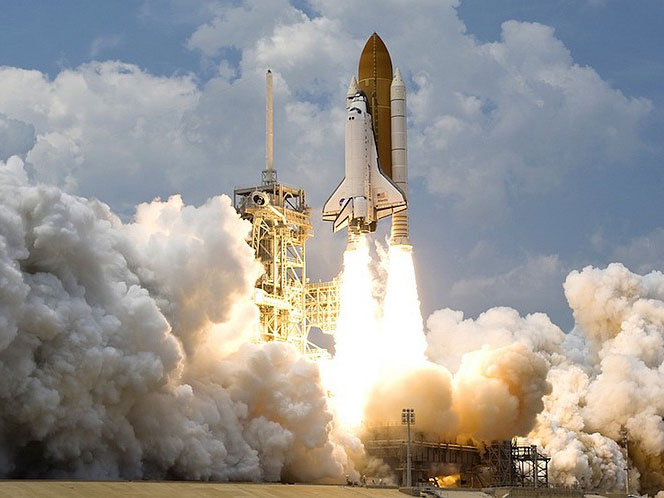 Math: a space shuttle blasts off