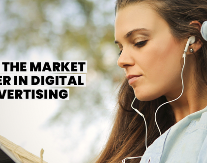 young woman with headphones and text saying DAX market leader in digital advertising