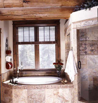 Master bathroom with circular hot tub
