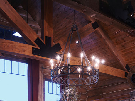 A log home in colorado photos detail of chandelier mozeypictures Gallery
