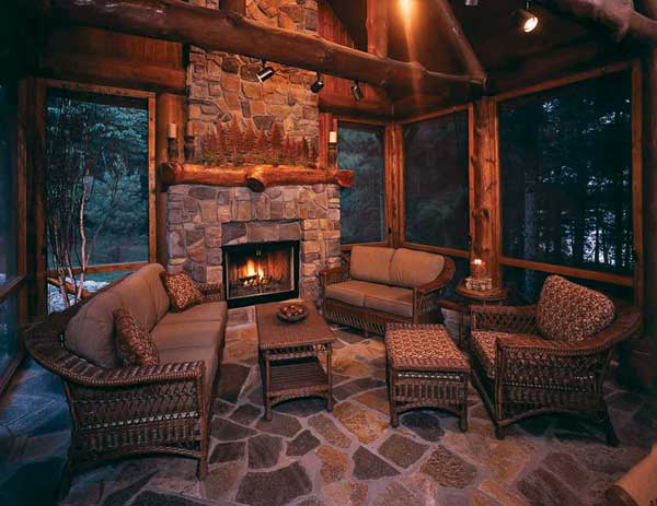 Transforming tradition an alpine log home in minnesota for Log cabin screened in porch
