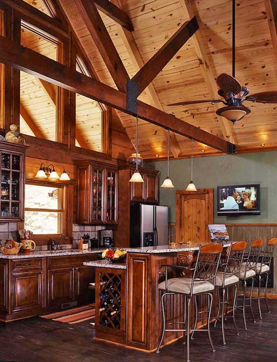 Beautiful log cabin kitchen log homes for Www loghome com