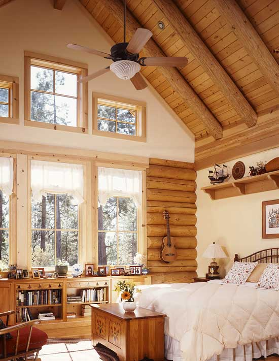 Drywall in log home bedroom