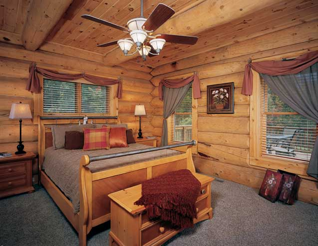 Wonderful-interior-design-cabin-bedroom-furnished-with-wooden-convinient-double-bed-nightstands-chandelier-and-windows-with-curtains-and-blinds