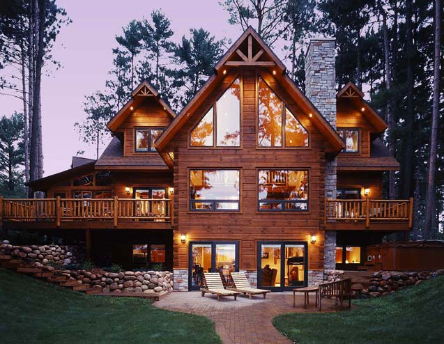 Custom built log home tour strongwood log homes for Unique log homes