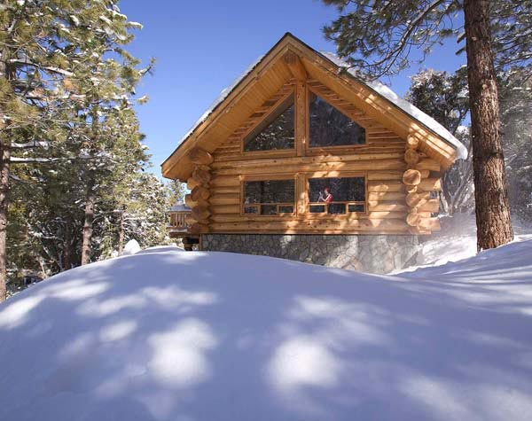 winter log cabin lodge
