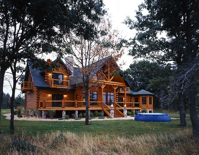Photos of a modern log cabin golden eagle log homes for Contemporary log home plans