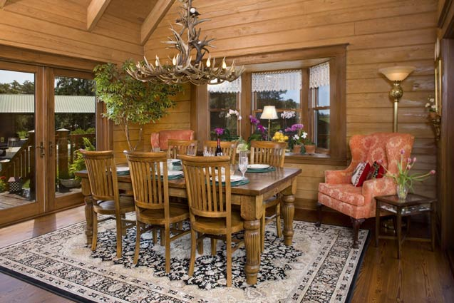 Wooden dining area