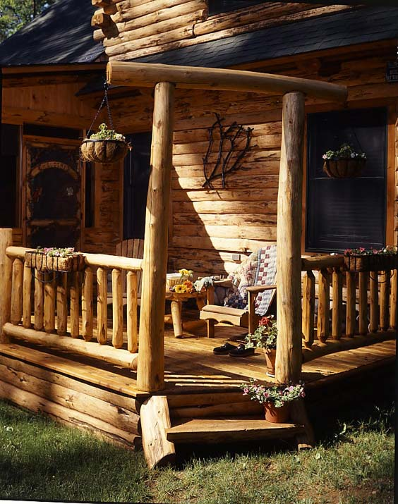 Cabin Porch Entry | Country Log Homes