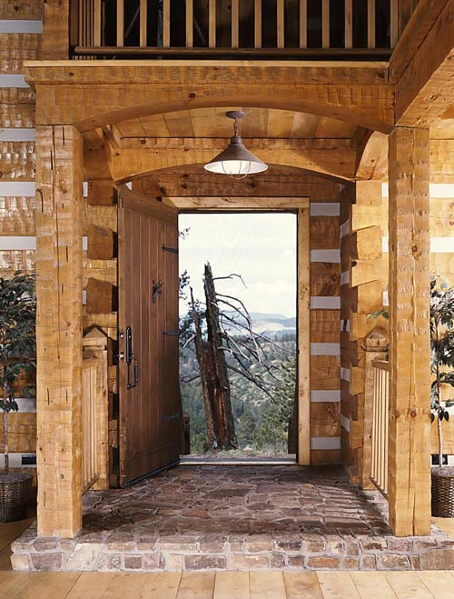 Log Home Entrance