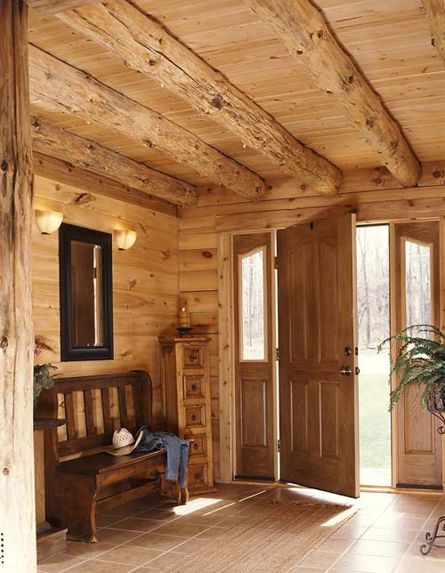 entrance of log home