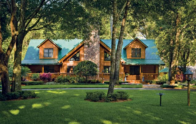 Photos of a custom log home in rural florida for Www loghome com