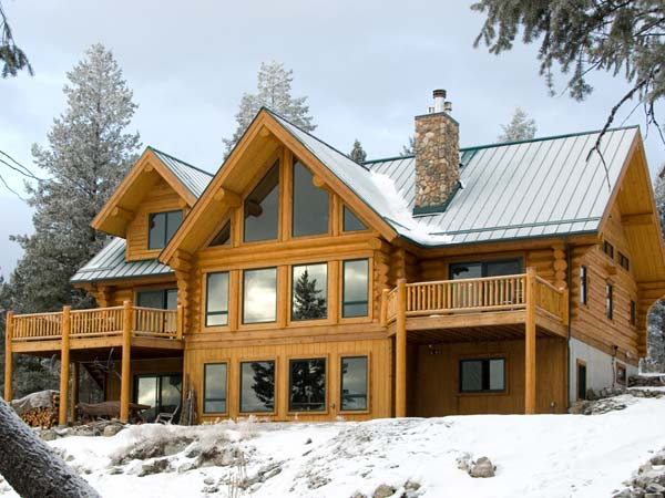 log home in christmas