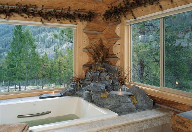 Log Home Jacuzzi | Luxury Spa