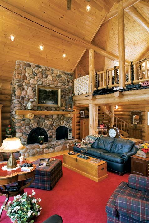 Brightly Decorated Log Cabin Great Room