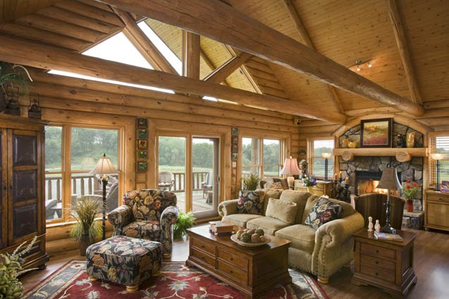 Rustic iowa log home photos by expedition log homes for Log cabin sunrooms
