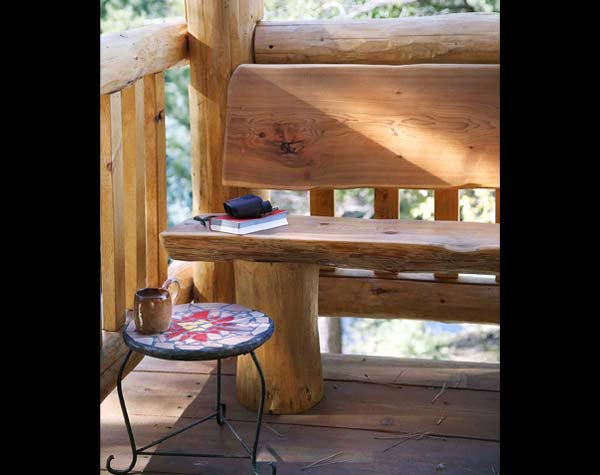 log cabin porch bench