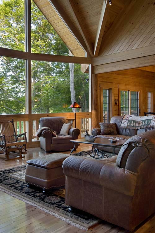 great room of log home