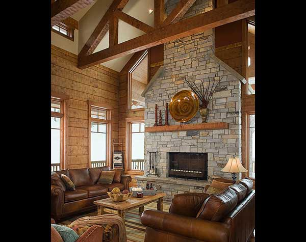 log home hearth