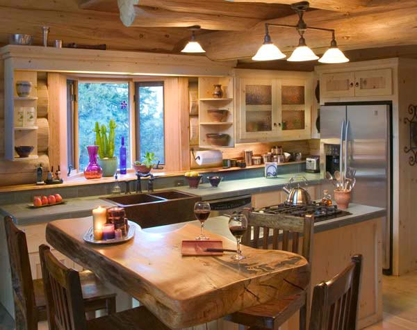 Kitchen cabinet ideas for cabins home christmas decoration for Log home kitchen designs
