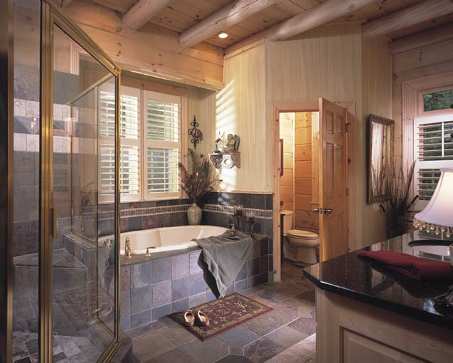 Photos of a log home in georgia for Cabin bathroom ideas