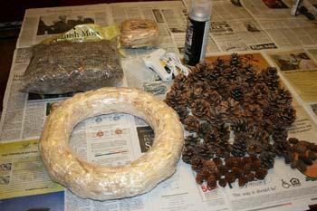 wreath-making supplies