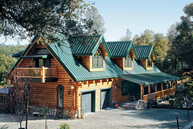 A creekside log home in california for Www loghome com