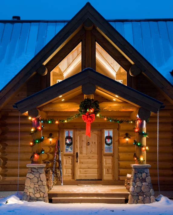 winter cabin, holiday log home
