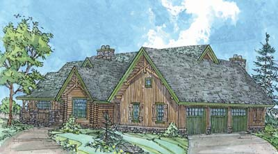 Rocky Mountain Log Home Drawing